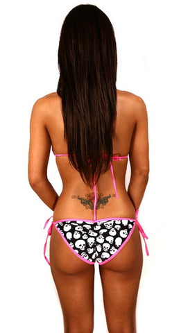 Dare Me Bikini Black Skull Print w/ Hot Pink Ties