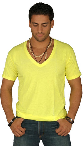Dirtee Hollywood Mens Basic V-Neck Tee Yellow