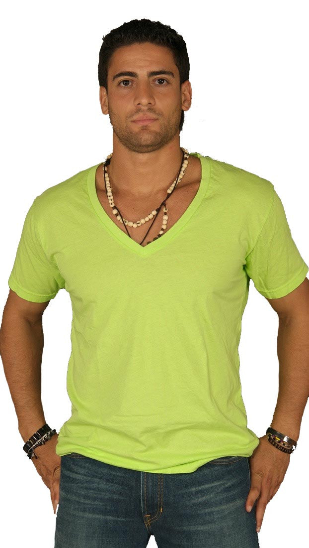 Dirtee Hollywood Mens Basic V-Neck Tee Neon Green