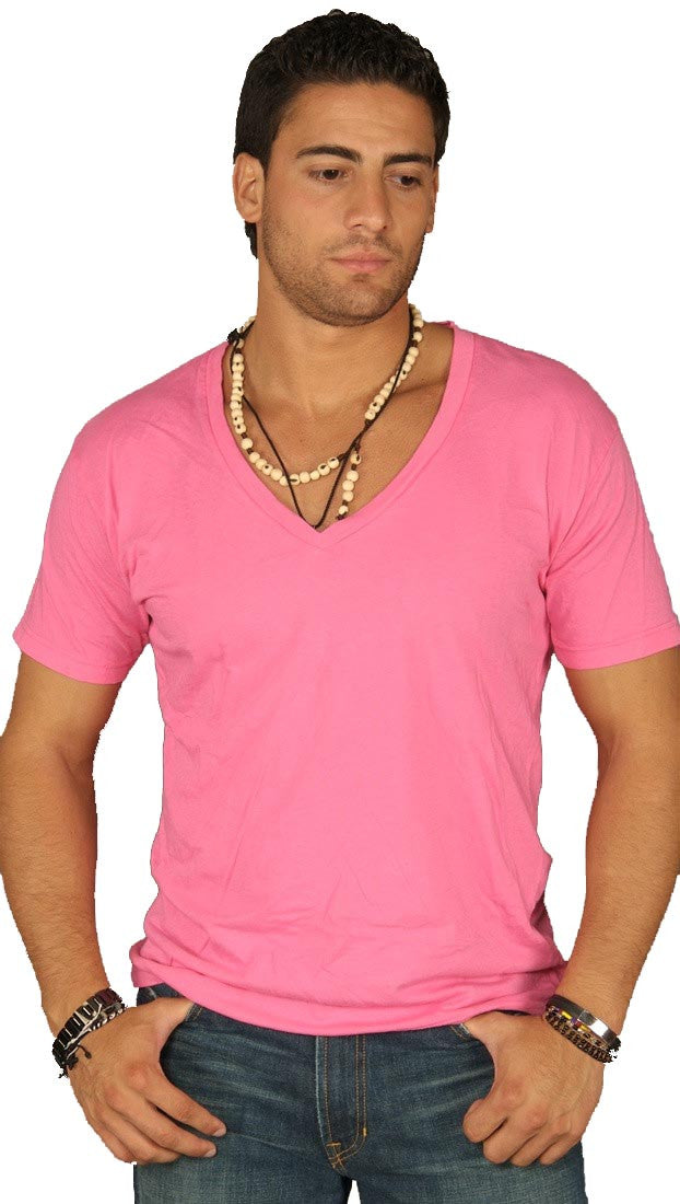 Dirtee Hollywood Mens Basic V-Neck Tee Neon Pink