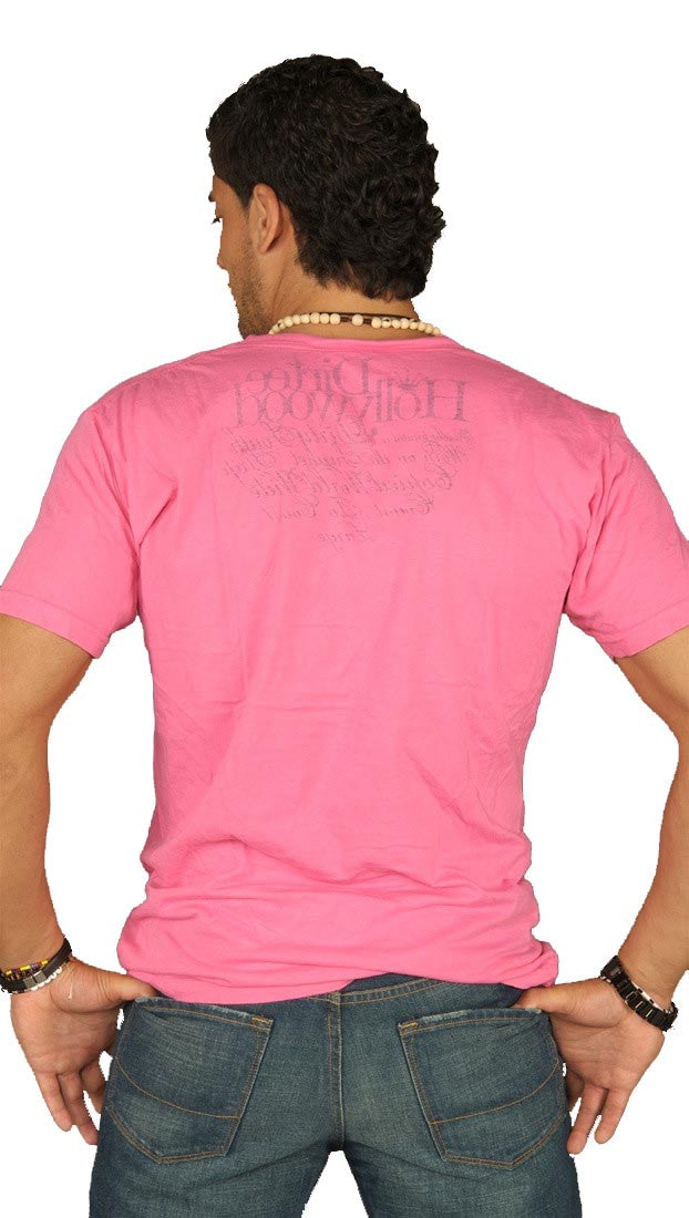Dirtee Hollywood Mens Basic V-Neck Tee Pink