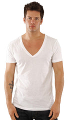 Dirtee Hollywood Mens Basic V-Neck Tee Clean White Shirt