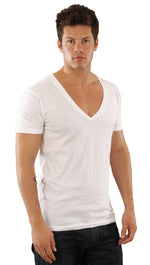 Dirtee Hollywood Mens Basic V-Neck Tee Bright White
