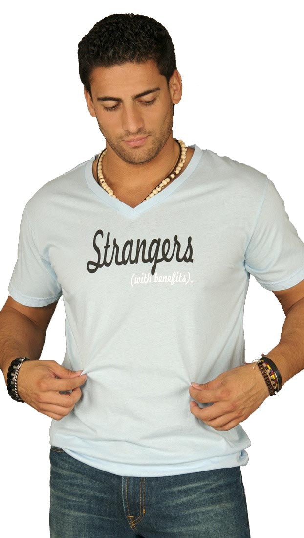Dirtee Hollywood Mens Strangers With Benefits V Neck Tee Shirt Top Light Blue