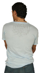 Dirtee Hollywood Mens V Neck Tee Shirt Top Light Blue