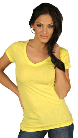 Dirtee Hollywood Basic V-Neck Tee Yellow