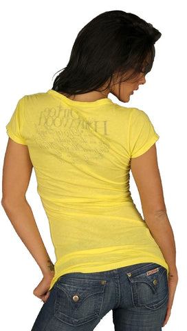 Dirtee Hollywood Basic V-Neck Tunic Tee Yellow