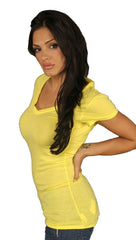 Dirtee Hollywood Basic V Neck Cotton Shirt Yellow