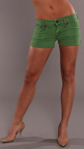 Dittos Denim Saddleback Shorts Grass Green ShopAA