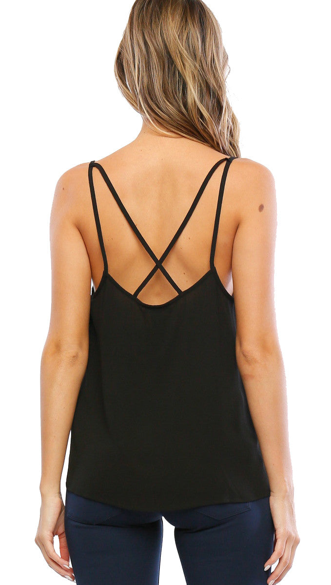 Timing Scallop Top Crepe Woven Criss Cross Detail Tank Black