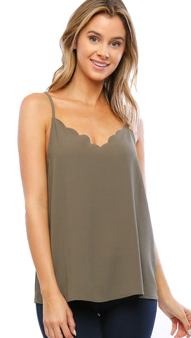 Timing Scallop Top Crepe Woven Criss Cross Detail Tank Vintage Olive Green