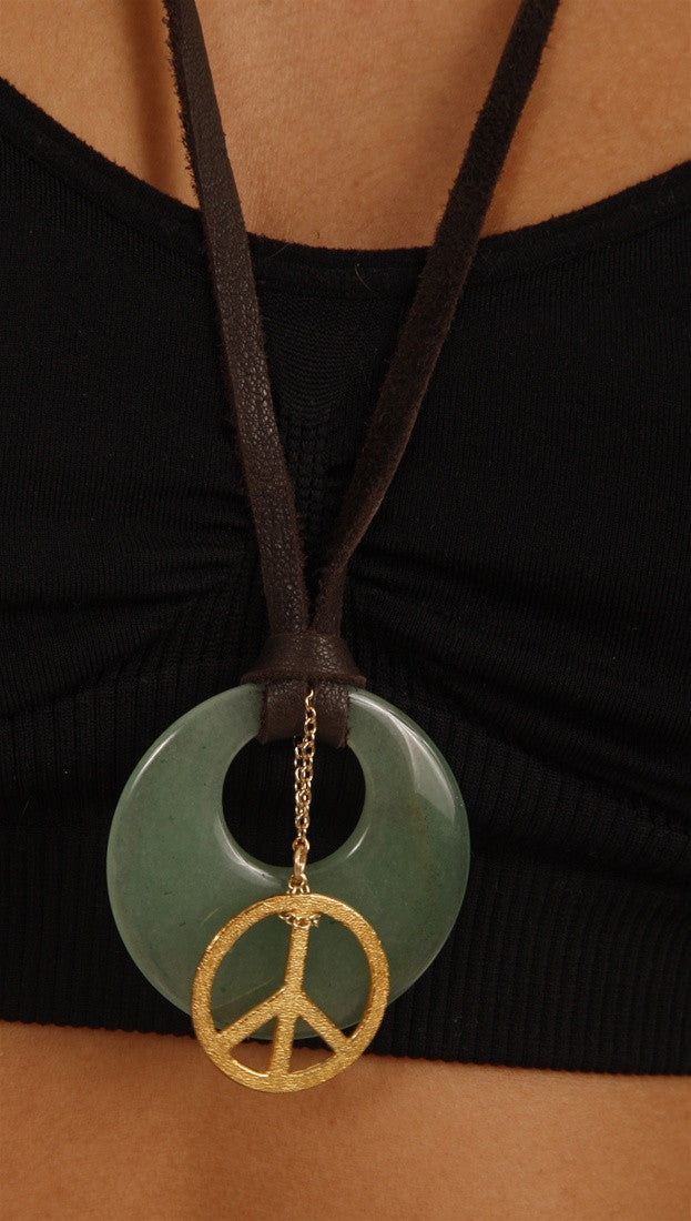 Dogeared Inner Circle & Peace Gold Dipped Necklace