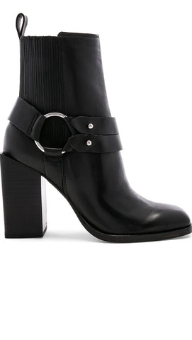 Dolce Vita Isara Bootie Black Leather High Block Heel ShopAA