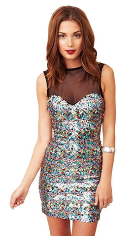 Dress The Population Ginger Mesh and Sequin Dress