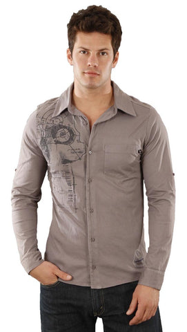 Drifter Adam Pocket Graphic Print Soft Cotton Button Down Smoke Grey
