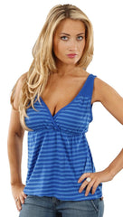 Drifter V Neck Kelly Striped Tank in Blue
