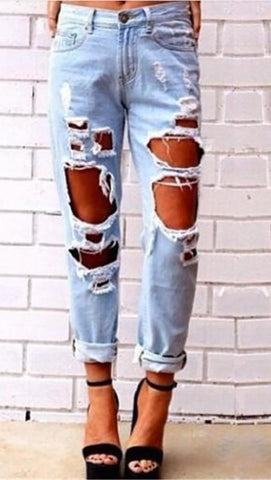 Destroyed Boyfriend Jean Blue Skinny Fit Distressed Denim JessykaRobyn