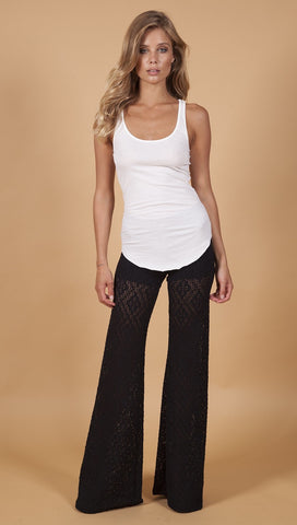 Diamond Lace Bells Black Nightcap Bell Bottom Pants Sheer