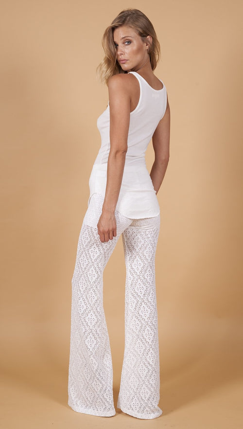 Nightcap Pants Diamond Lace Bells White Sheer Lace Bell Bottoms