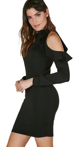 The Ruffle Cold Shoulder Mini Dress Black Long Sleeve Cut Out