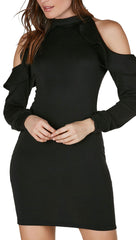 Cold Shoulder Ruffle Mini Dress Black