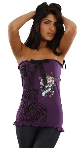 Ed Hardy Geisha Flower Strapless Tube Top in Purple
