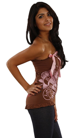 Ed Hardy Love Kills Slowly Strapless Tube Top in Brown