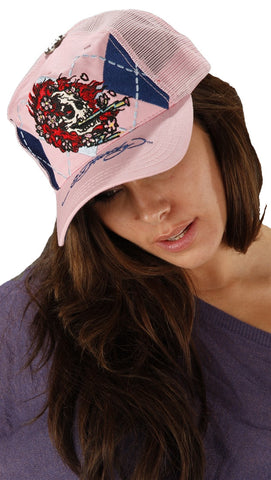 Ed Hardy Argyle Skull Mesh Trucket Adjustable Size Hat Pink