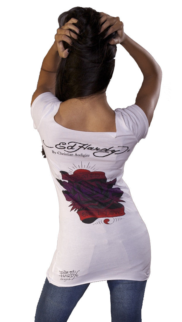 Ed Hardy The One I Love Rose Wide Neck Short Sleee Tunic Tee Shirt White