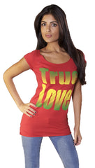 Ed Hardy True Love Heart Wide Neck Short Sleee Tunic Tee Shirt Red