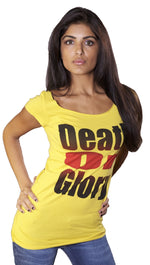 Ed Hardy Death or Glory Skull Wide Neck Short Sleee Tunic Tee Shirt Yellow
