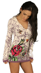 Ed Hardy Butterfly Rose Barbed Wire Knit Pocket Tunic Sweater Hoodie Purple