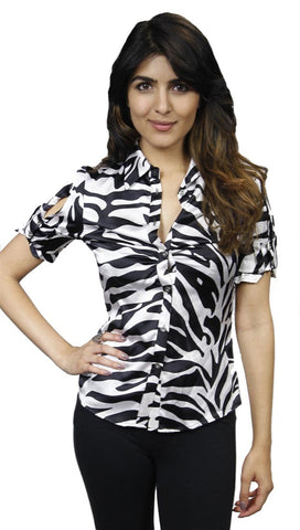 Faith Connexion Zebra Print Silk Button-down