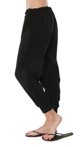 9Seed Fire Island Surf Pants Black Gauze Swim Cover Up