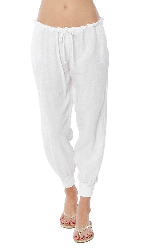 9Seed Fire Island Surf Pants White Drawstring Gauze