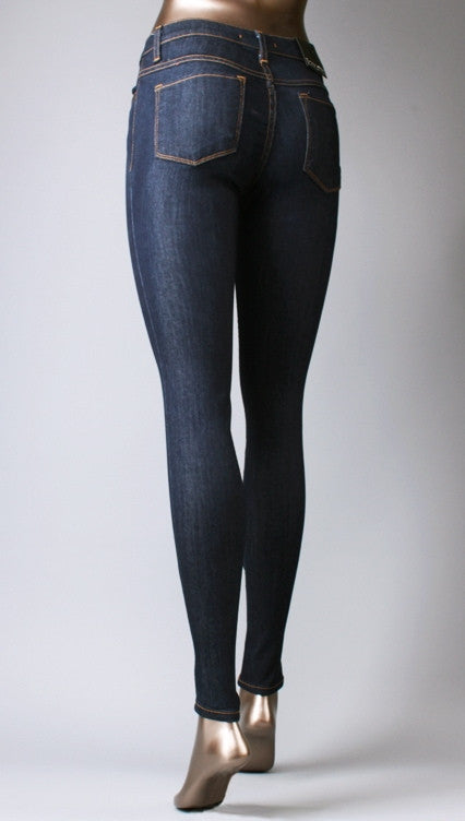 Flying Monkey High Waisted Skinny Jeans in Dark Blue