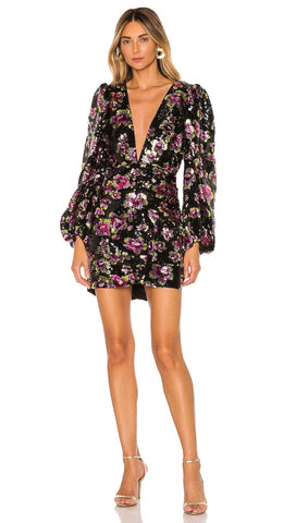 For Love & Lemons Morrison Sequin Floral Mini Dress Dahlia l ShopAA