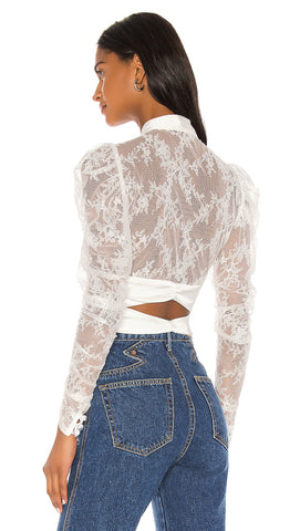 For Love & Lemons Farrah Button Up Blouse White Lace l ShopAA