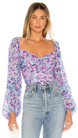 For Love & Lemons Belize Bodysuit Purple Floral l ShopAA