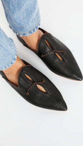 Free People St. Lucia Flats Black Leather Resort Slides | ShopAA