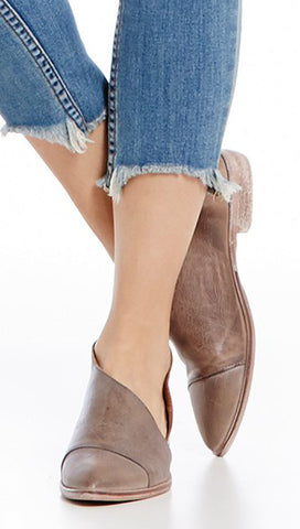 Free People Royale Flat Leather Grey Cut Out d'Orsay Shoes I ShopAA