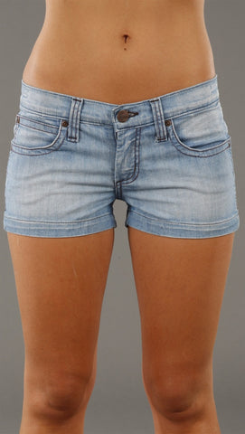 Frankie B. Double Zig Zag Denim Basic Shorts in Luna