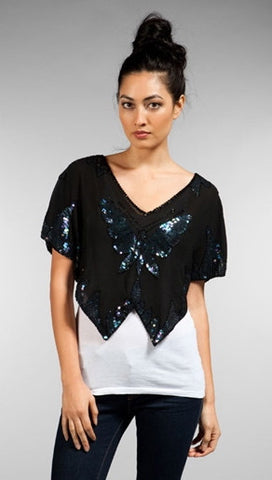 Free People Butterfly Sequin Sheer Crop Top in Black