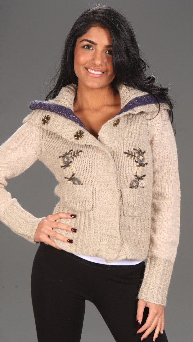 Free People Pointelle Cardigan Flower Sweater Oat
