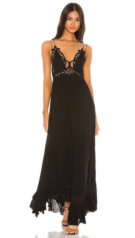 Free People Adella Maxi Dress Black Lace Crochet | ShopAA