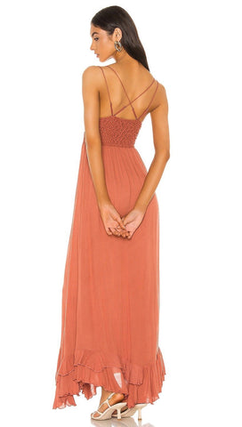Free People Adella Maxi Dress Copper Lace Crochet | ShopAA