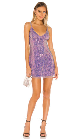 Free People Gold Rush Sequin Mini Dress Lilac Purple | ShopAA