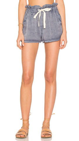 Free People High Waist Wash Out Short Lilac Blue Pockets