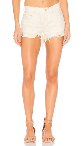 Free People Daisy Chain Lace Denim Shorts White Embroidered Distressed
