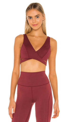 Free People Good Times Sports Bra Wine Redwood Red Crisscross Strappy